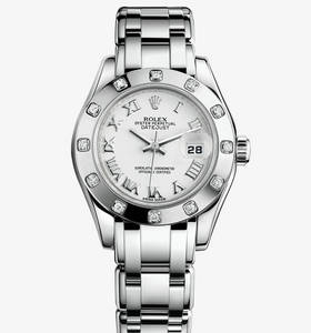 Replica Rolex Lady- Datejust Pearlmaster Watch: 18 ct ouro branco - M80319 -0040 [3813]