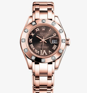 Replica Rolex Lady- Datejust Pearlmaster Watch: 18 ct everose ouro - M80315 -0013 [849b]
