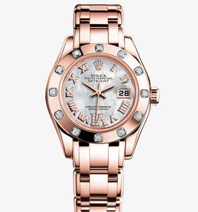 Реплика Rolex Lady-Datejust Pearlmaster Watch: 18-каратное золото Everose - M80315 -0014 [1b8f]