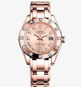 Реплика Rolex Lady-Datejust Pearlmaster Watch: 18-каратное золото Everose - M80315 -0012 [998e]