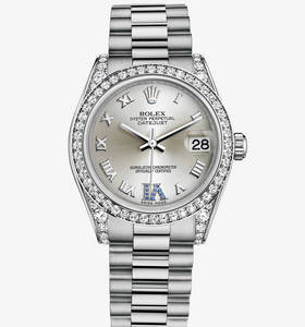 Replica Rolex Datejust Lady 31 Klocka : 18 ct vitguld med klackar med diamanter - M178159 - 0052 [06a7]